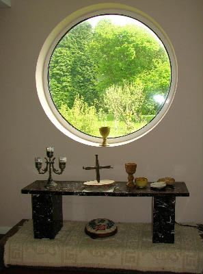Chapel window and communion table