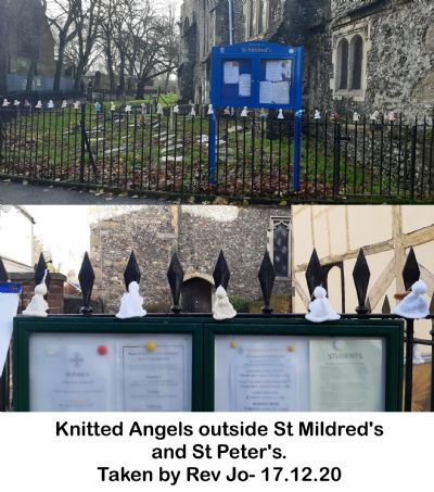 Knitted Angels outside St Mildred's and St Peter's.