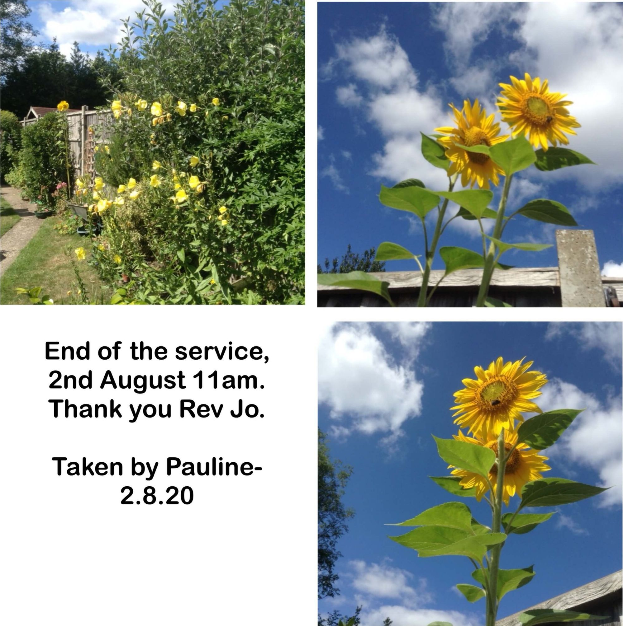 End of the service, 2nd August 11am. Thank you Rev Jo.