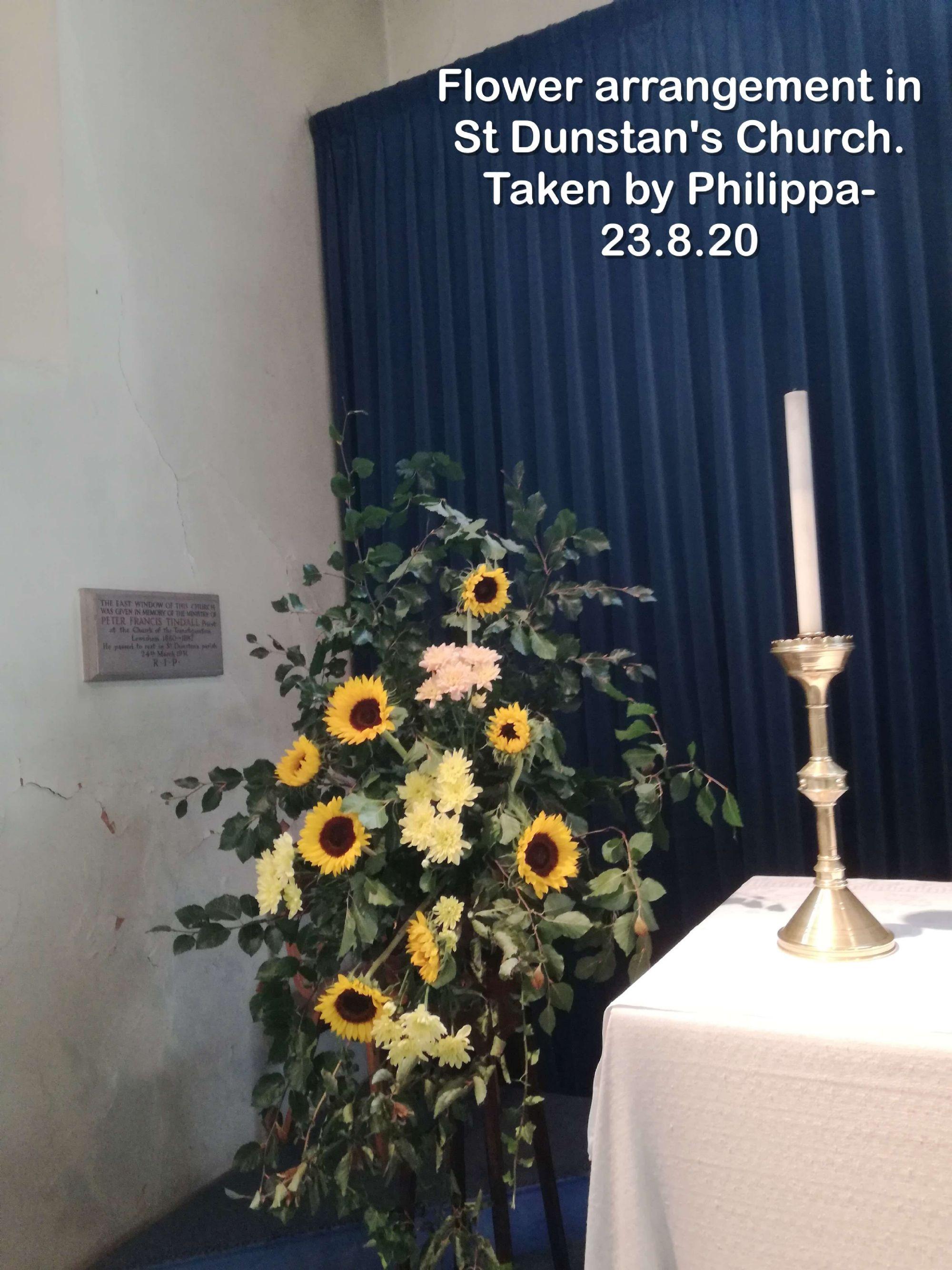 Flower arrangement in St Dunstan's Church.