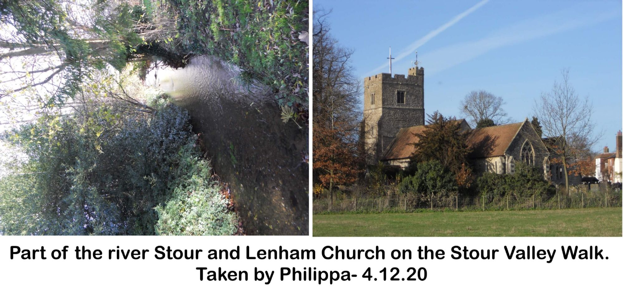 Part of the river Stour and Lenham Church on the Stour Valley Walk.