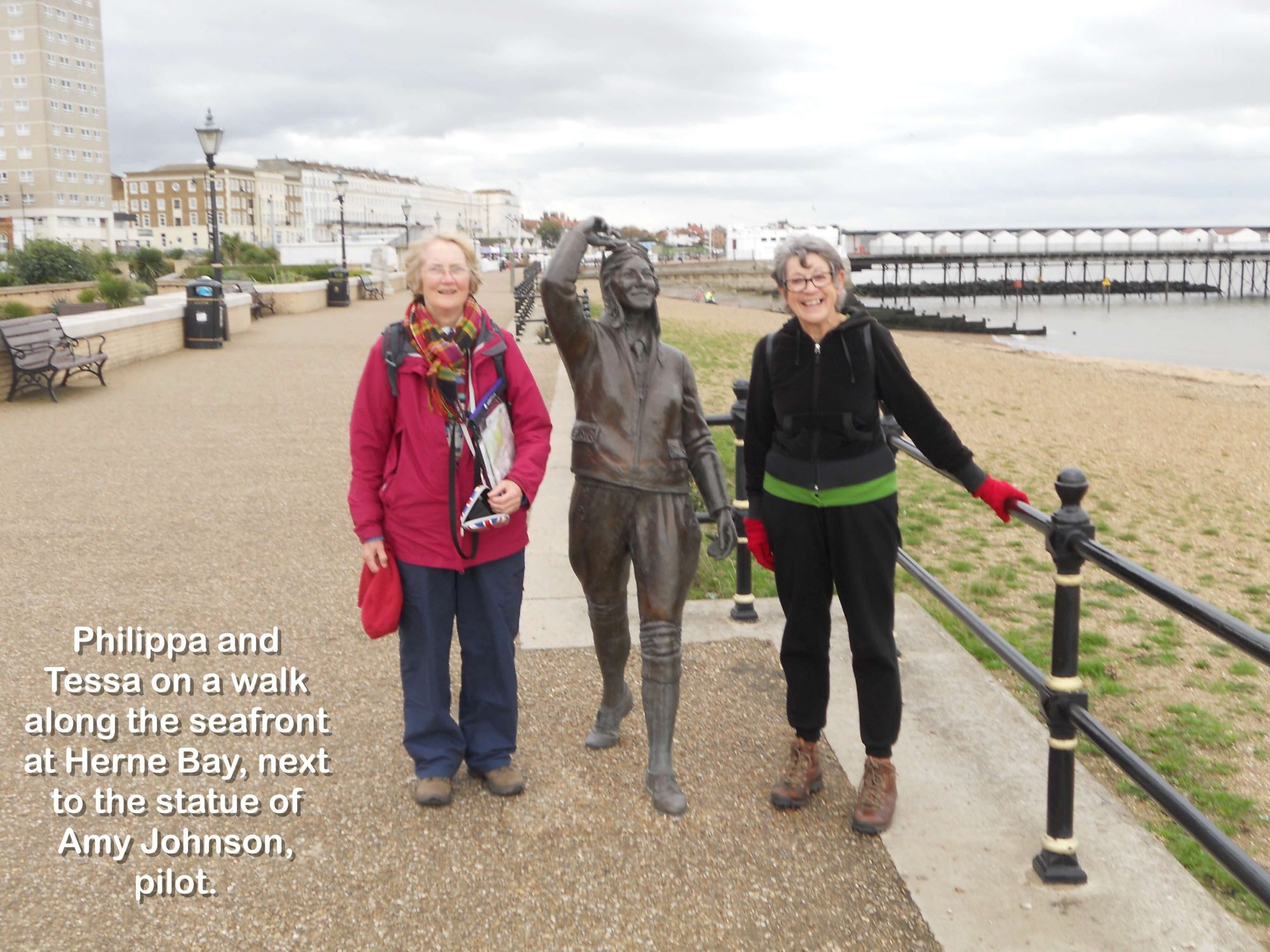 Philippa and Tessa on a walk along the seafront at Herne Bay, next to the statue of Amy Johnson, pilot.
