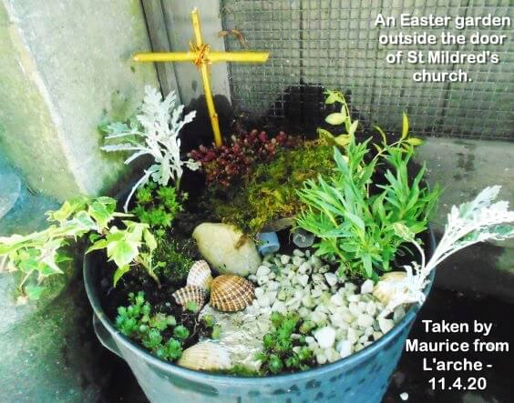 An Easter garden outside the door of St Mildred's church.