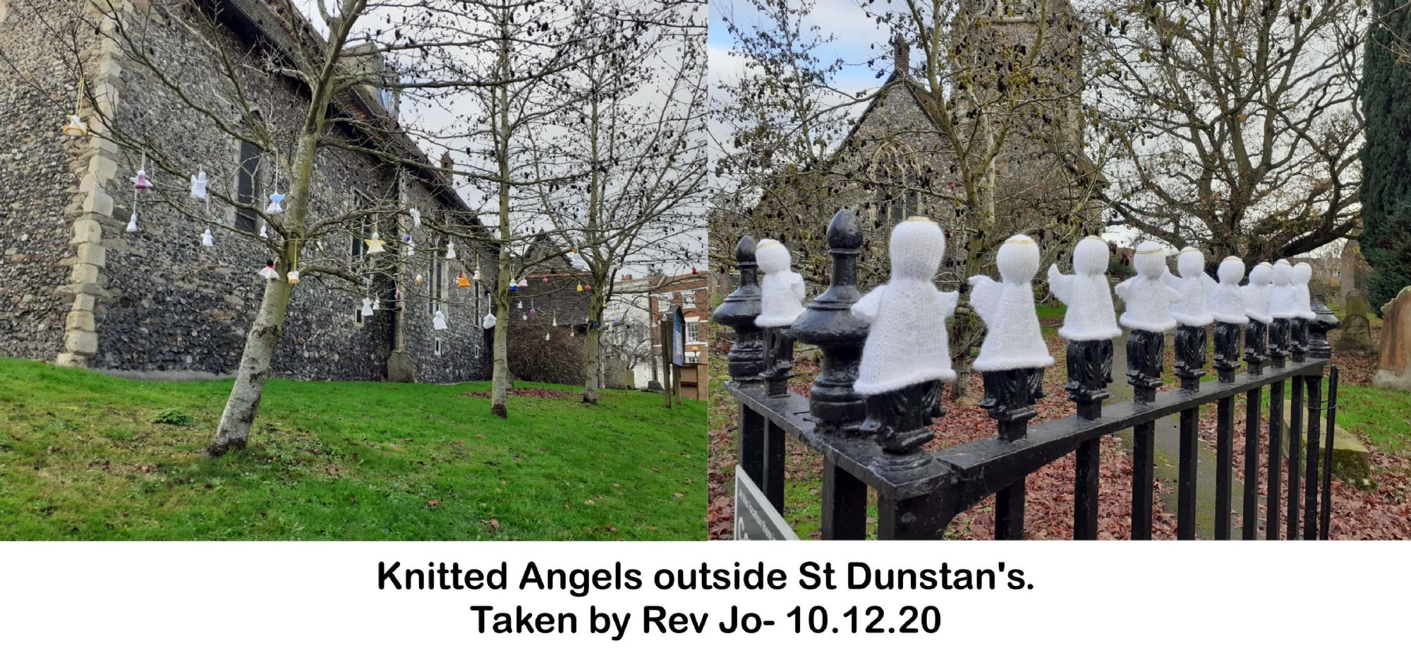 Knitted Angels outside St Dunstan's.