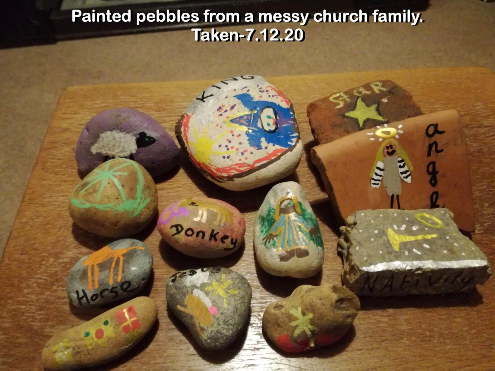 Painted pebbles from a messy church family.