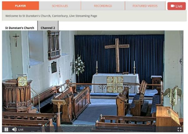 Streaming camera view inside St Dunstans