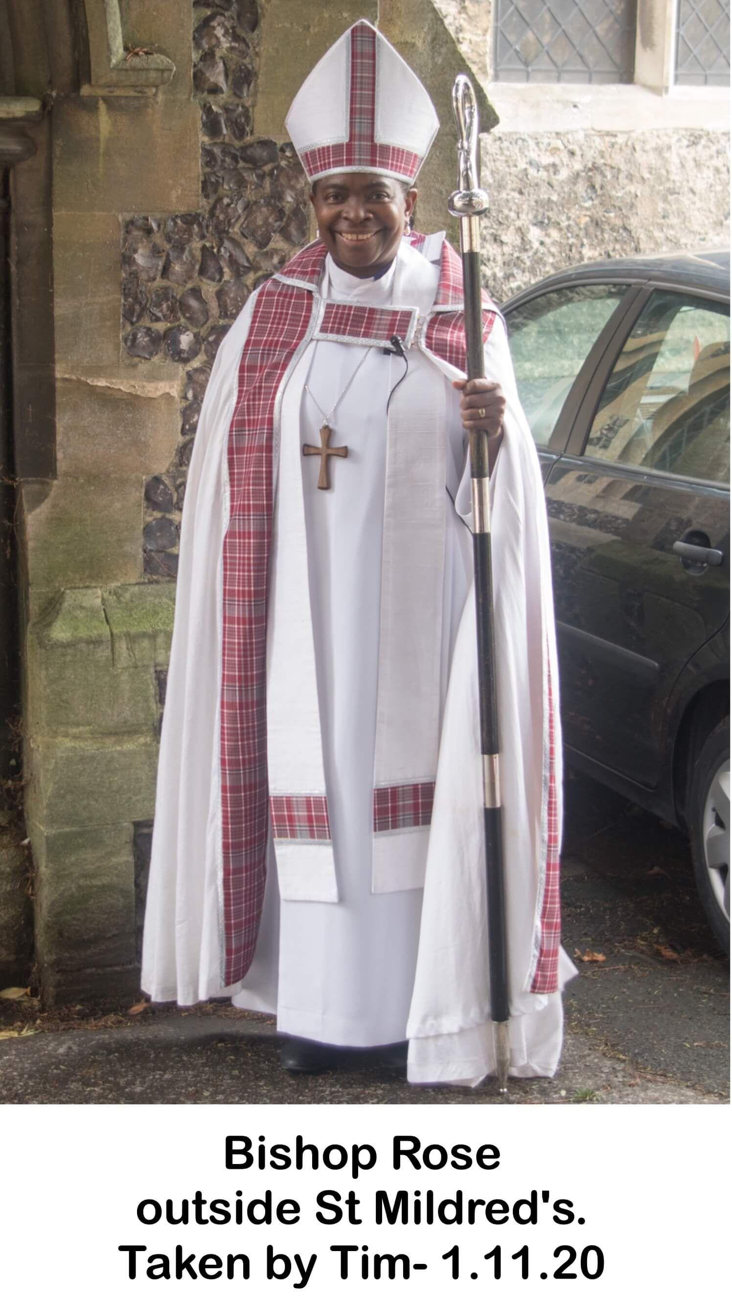 Bishop Rose outside St Mildred's.