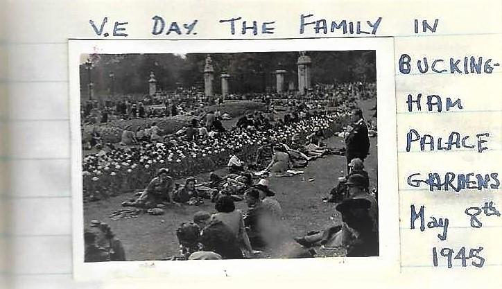David in Buckingham Palace gardens on VE Day 1945