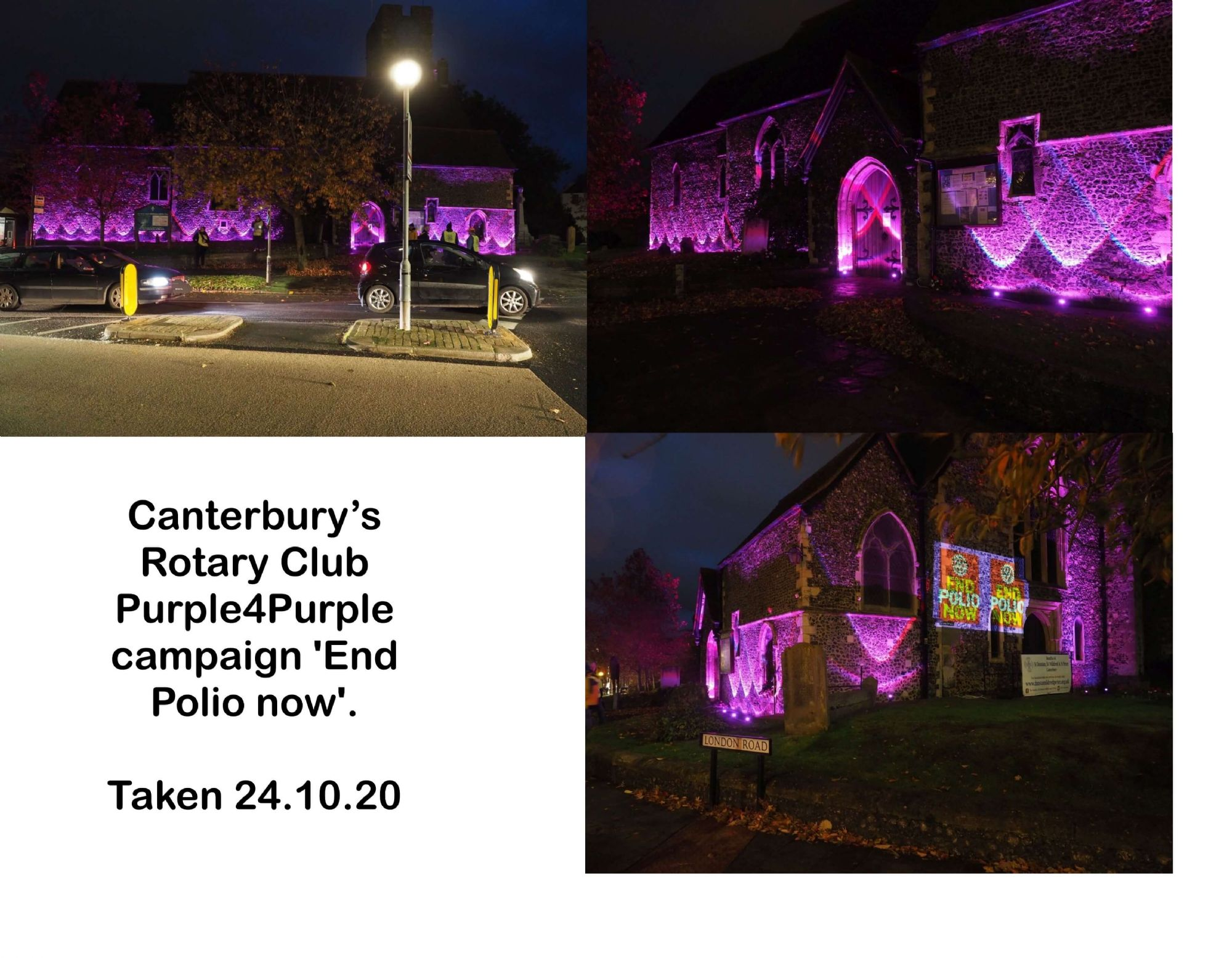 Canterbury's Rotary Club Purple4Purple campaign 'End Polio now'
