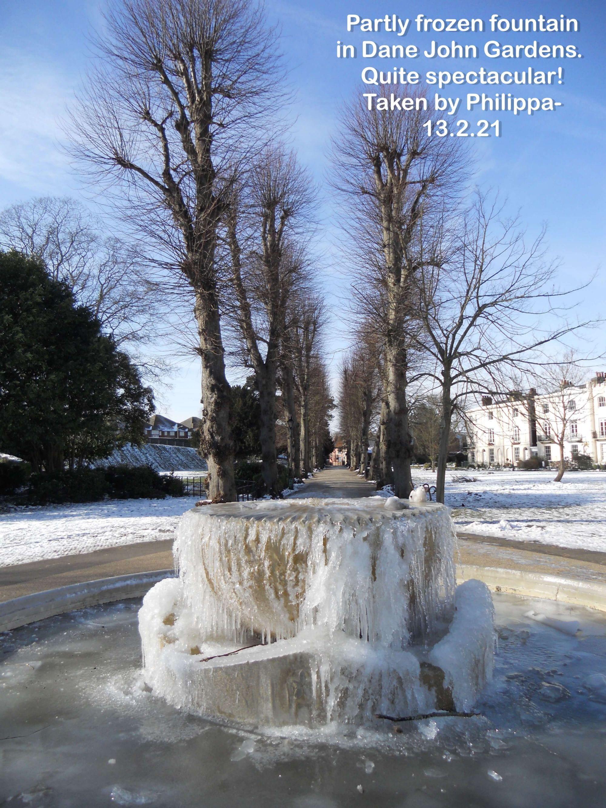 Partly frozen fountain in Dane John Gardens.  Quite spectacular!