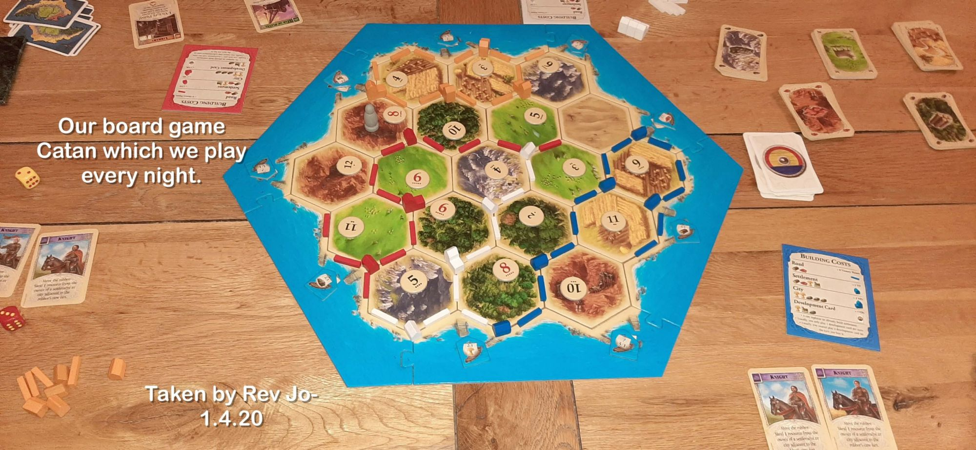Our board game Catan which we play every night.
