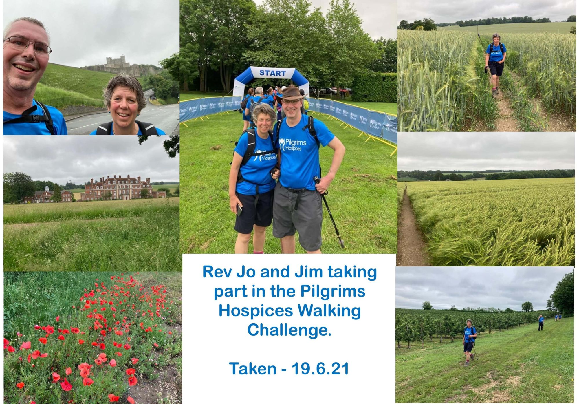 Rev Jo and Jim taking part in the Pilgrims Hospices Walking Challenge.