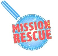 Magnifying Glass with the words Mission Rescue