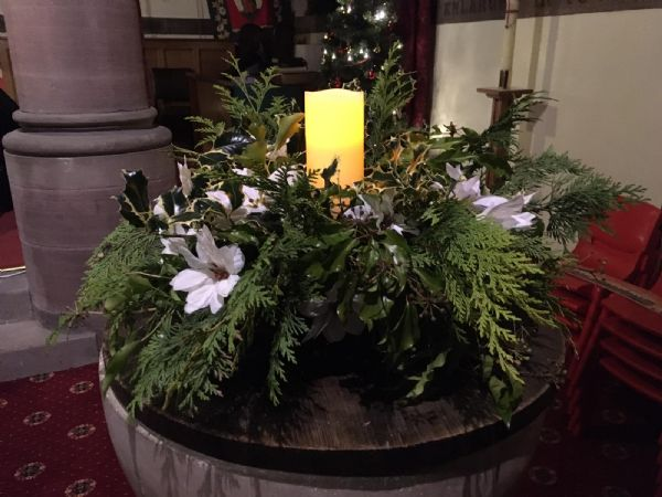 The Font with Christmas decoration