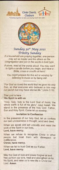 Trinity Sunday Service sheet