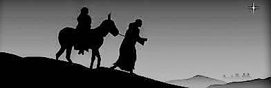 Mary and Joseph travelling with a donkey