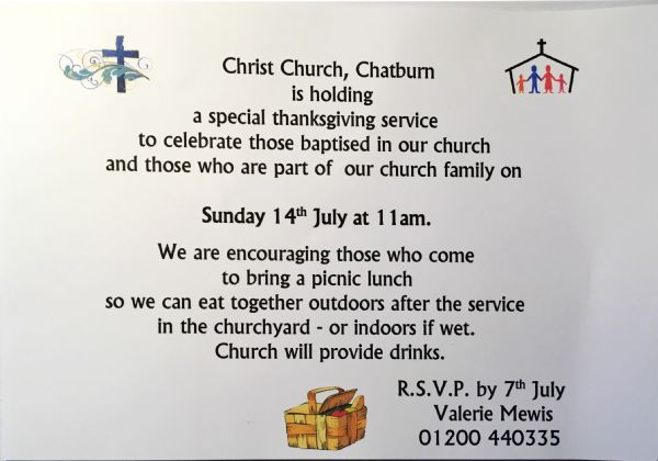 Invitation to Special Baptism Service