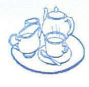 Tea pot, milk jug and tea cup