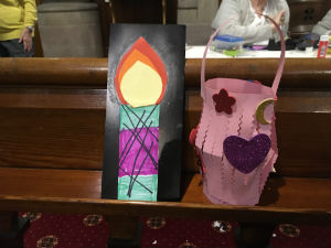 Messy Church candle and basket