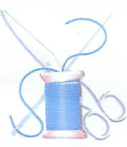 Needle, thread and scissors