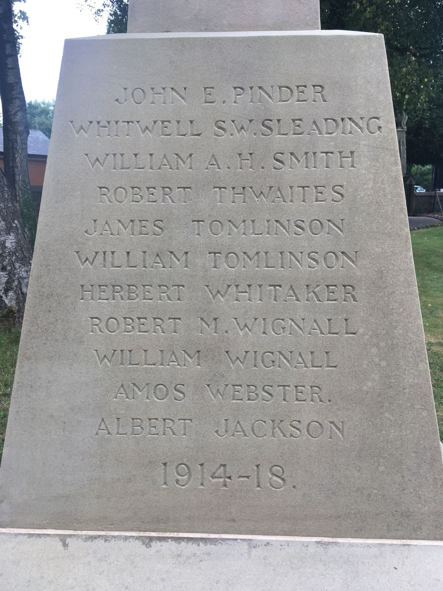 Villagers who died in WW1