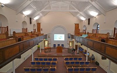 View of snactuary towards pulpit from gallery