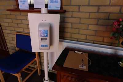 sanitizer and clipboard