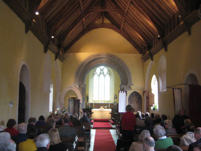 Hauxton Church before the service.