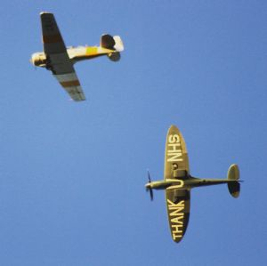 Spitfire and Harvard over Harston