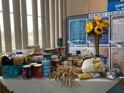 Baptist Church harvest display