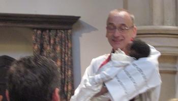 Khalia being baptised