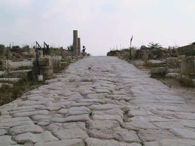 Grand street.The grooves in the road are still visiable. These would have been made by wagons, carts, and may be chariots as well.