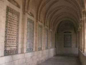 The Lord's Prayer in different languages on the walls of the cloister at the Pater Noster Church