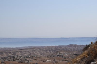 Looking at the Dead Sea and Jordan in the distance from the Herodian near Bethlehem