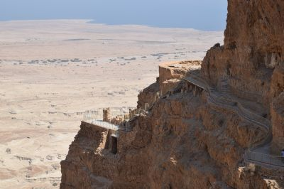 Looking towards Herod's winter palace on Masada
