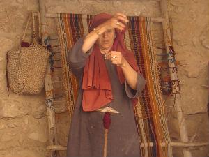 Spinning wool (Nazareth Village)