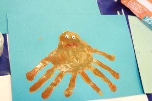 Sad hand print octopus