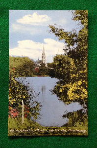 An early colour print of St. Michaels Church taken from the across the RMA lake