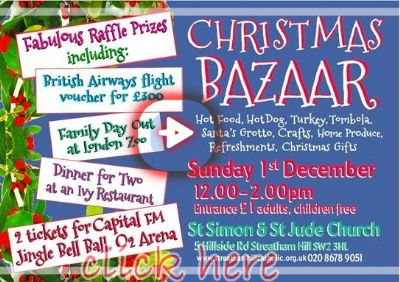 Poster advertising Bazaar and raffle prizes link to prize page