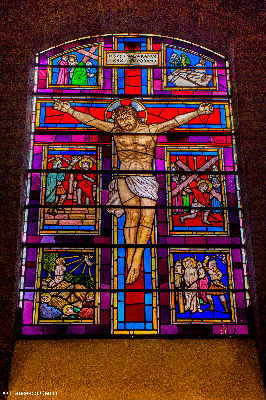 Jesus on cross stained glass