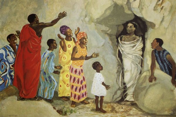 Lazarus John 11:1-45 Image of African hjesus and Lazarus
