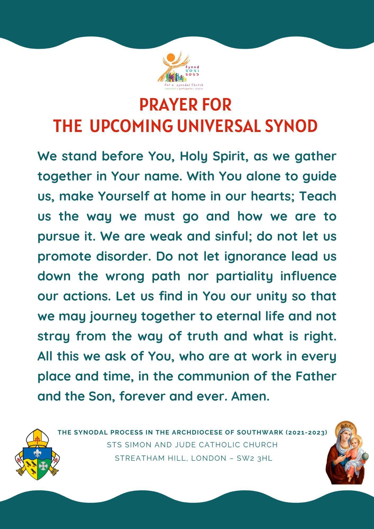 Prayer for the Upcoming Universal Synod  (Adsumus, Sancte Spiritus)