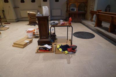 New floor tiles laid