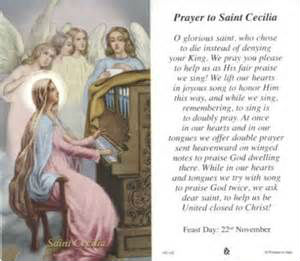 St.Ceclia Prayer card feast day