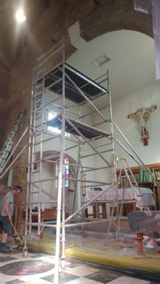 Preparation of High Altar area for cleaning