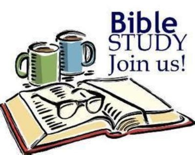 Art illusrtation open bible two mugs of tea or copffee , glasses on tye Bible and words that say Bible Study , Join us!