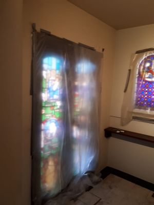 dust covers on stained glass doors