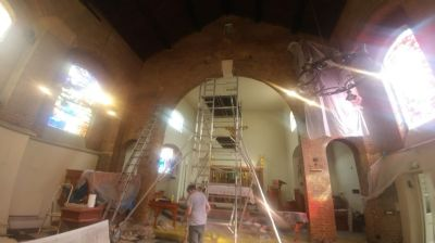 Chancel area prepared fro cleaning