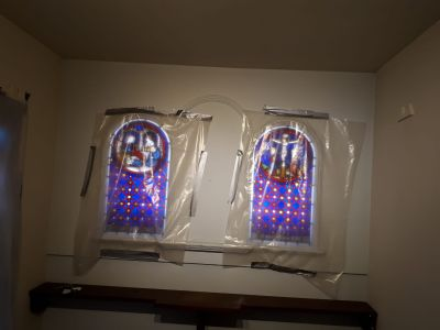 dust covers on stained glass windows