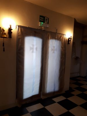 Dust covers on doors